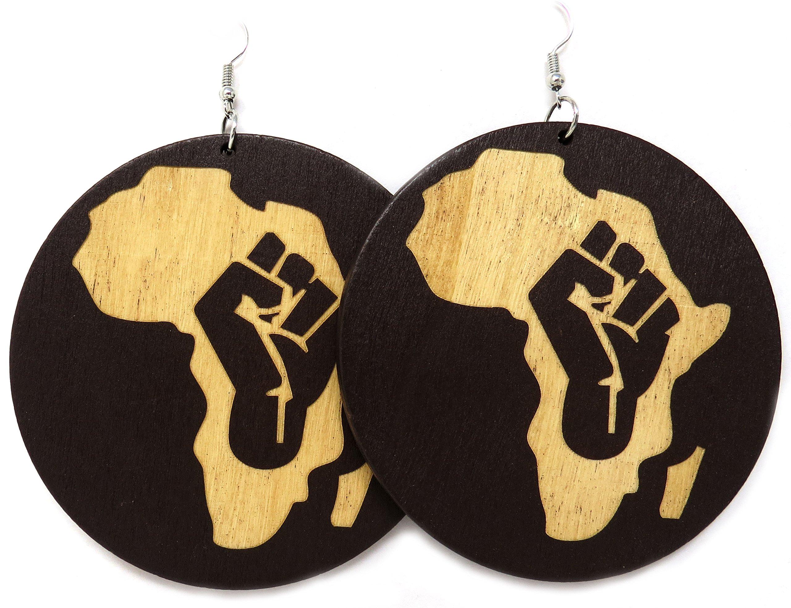 Africa Rasta Earrings''Reggae Earrings'' Jamaican Earrings Africa Map Earrings-Drop Rasta Earrings (Africa Fist Brown)
