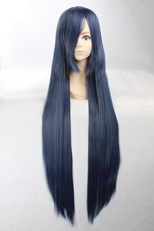Eday Cosplay peluca azul peluca extra larga azul peluca Pelucas