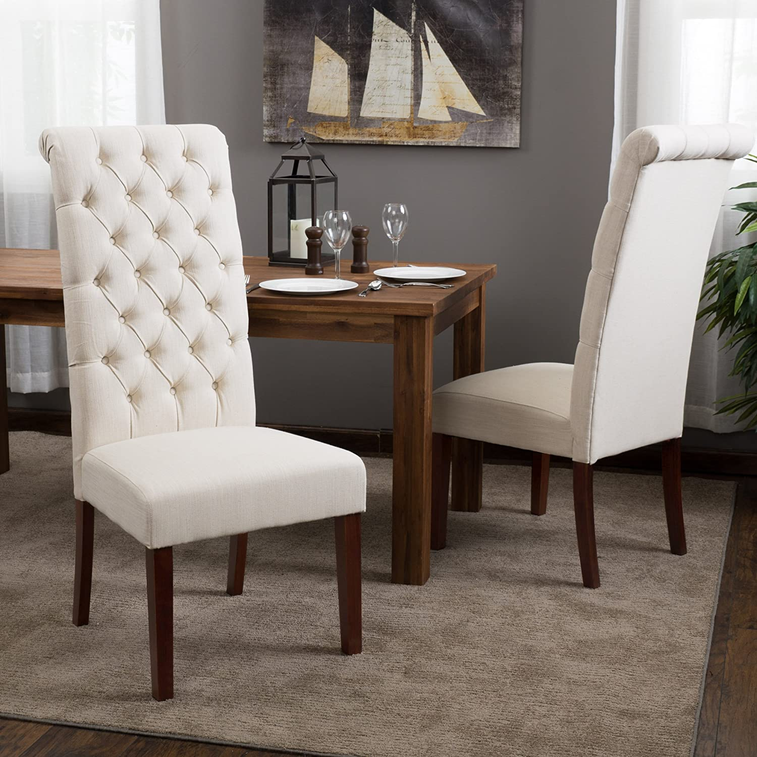 Amazon.com   Best Selling Natural Tall Tufted Dining Chair, 2 Pack   Chairs
