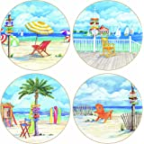 """CoasterStone AS1760 Absorbent Coasters, 4-1/4-Inch, """"Beach Signs"""", Set of 4"""