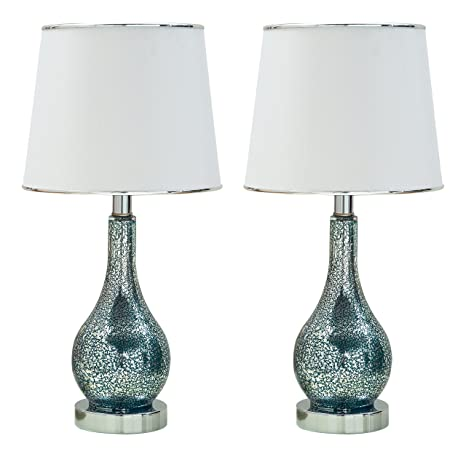Charmant Kings Brand Ardoch Aqua Blue Glass With White Fabric Shade Table Lamps, Set  Of 2