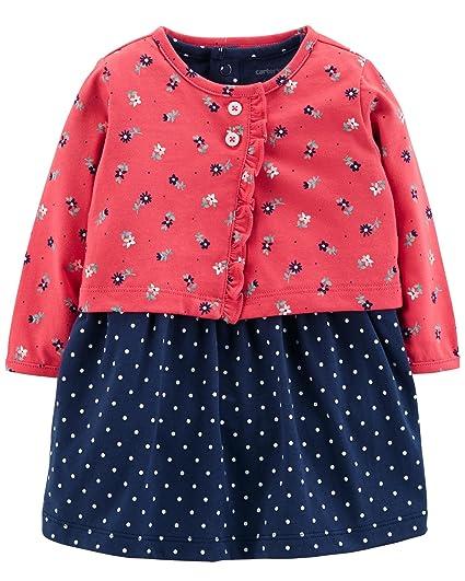 a83118faaf Amazon.com  Carter s Baby Girls 2 Piece Bodysuit Dress and Cardigan ...