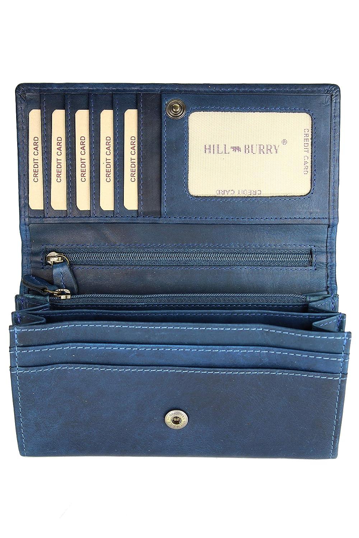 Hill Burry hochwertige Vintage Leder Damen Geldbörse Portemonnaie langes Portmonee Geldbeutel langes Portmonee aus weichem Leder in blau - 17, 5x10x3cm (B x H x T) hill vl 77701 blue