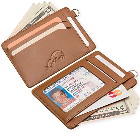 Edmen Zipper Key Wallet Leather Credit Card Case Coins Purse with ID Window for