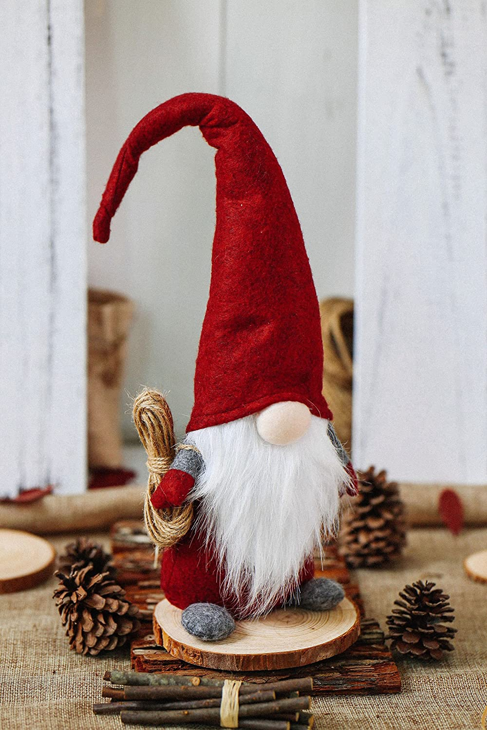 amazoncom itomte handmade swedish tomte santa scandinavian gnome plush figurines gnome elf ornaments home christmas decoration thanksgiving day