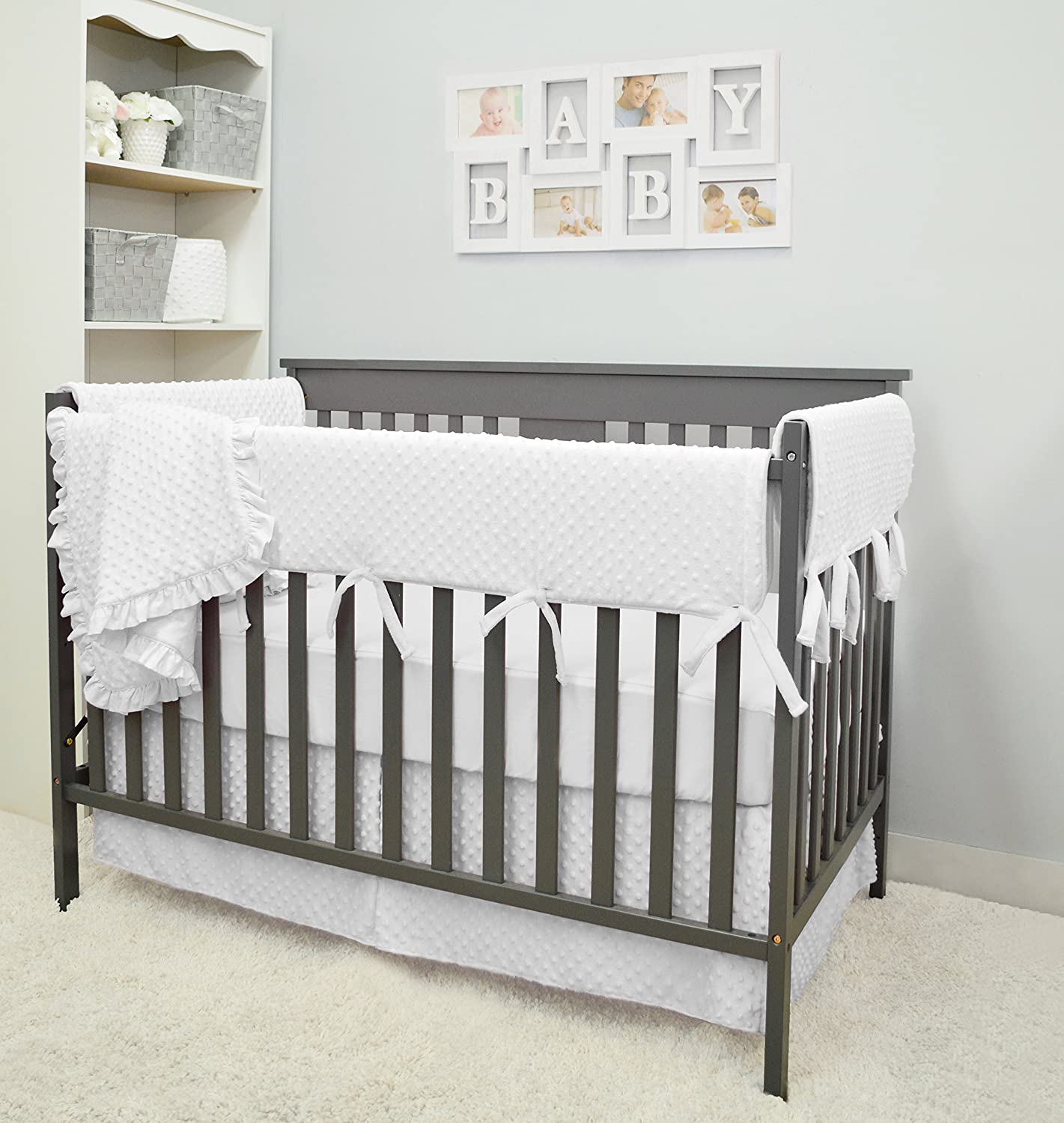 American Baby Company Heavenly Soft 6 Piece Crib Rail Bedding Set, White, for Boys and Girls