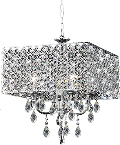 Chrome Crystal 4-Light Square Chandelier