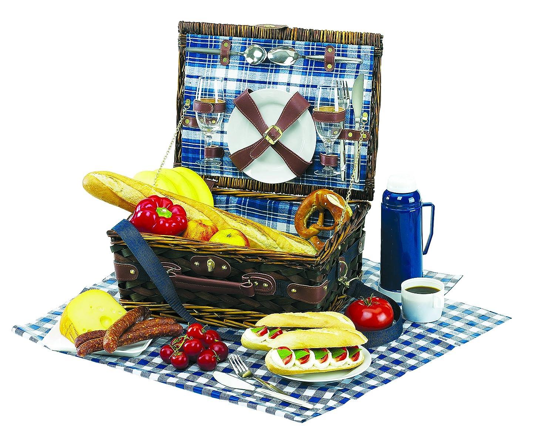 Picknickkorb Summertime für 2 Personen mit Tischdecke und Schultergurt