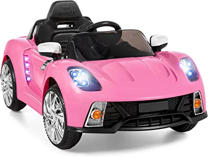 Amazon Com Best Choice Products Kids 12v Electric Rc Ride On W 2 Speeds Led Lights Mp3 Aux Pink Toys Games