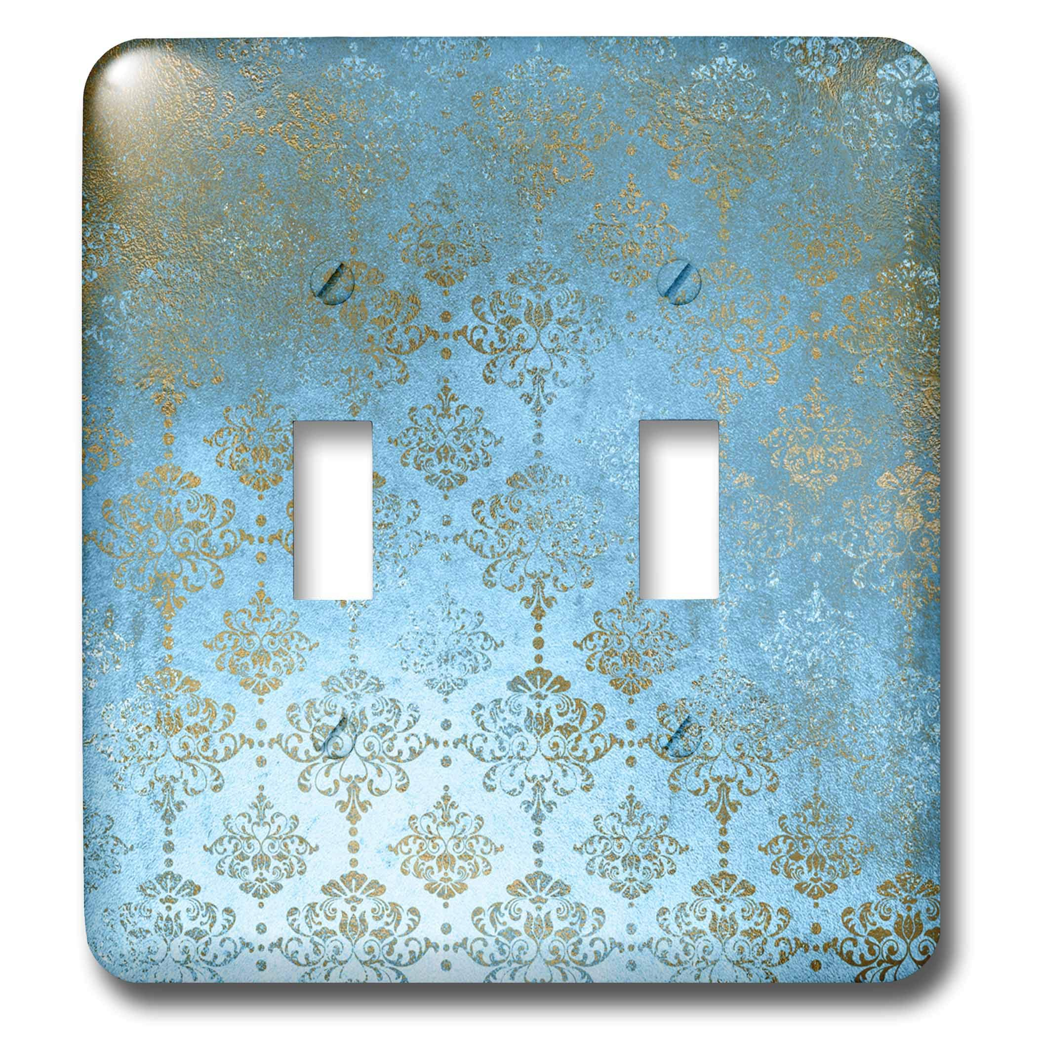 3dRose Uta Naumann Faux Glitter Pattern - Image of Sky Blue and Gold Metal Foil Vintage Grunge Luxury Damask Pattern - Light Switch Covers - double toggle switch (lsp_290169_2) by 3dRose (Image #1)