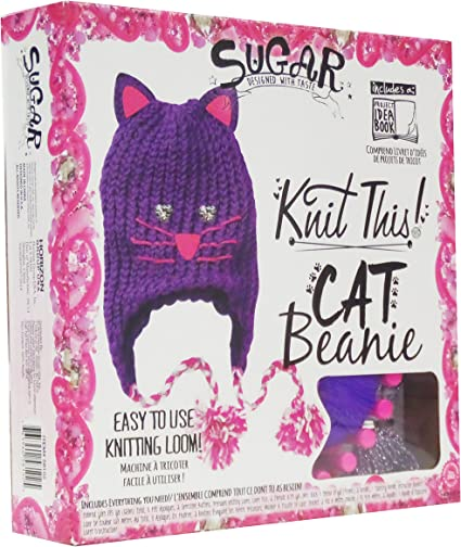 Cat Beanie Knitting Kit with Yarn and Loom Sugar Knit This