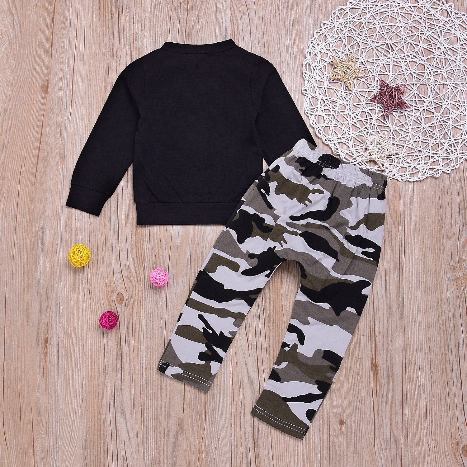 Camo Pants Trousers Outfits Set 1-7T Baby Kids Boys Letters Black T-Shirt Tops