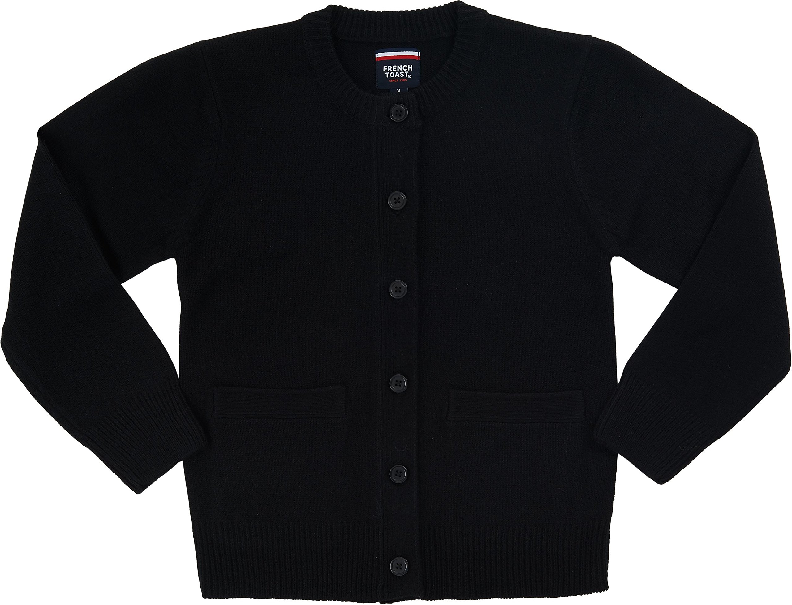 French Toast School Uniform Girls Anti-Pill Crew Neck Cardigan Sweater, Black, 2T