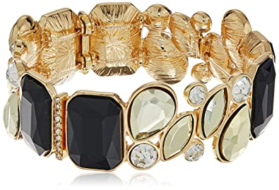c086277e666e8 Amazon.com: GUESS Multi Stone Jet/Gold Stretch Bracelet: Jewelry