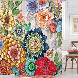 Boho Shower Curtain, AMM Floral Shower Curtains for Bathroom, Bohomian Curtains Colorful Flowers with 12 Hooks 72''×72''