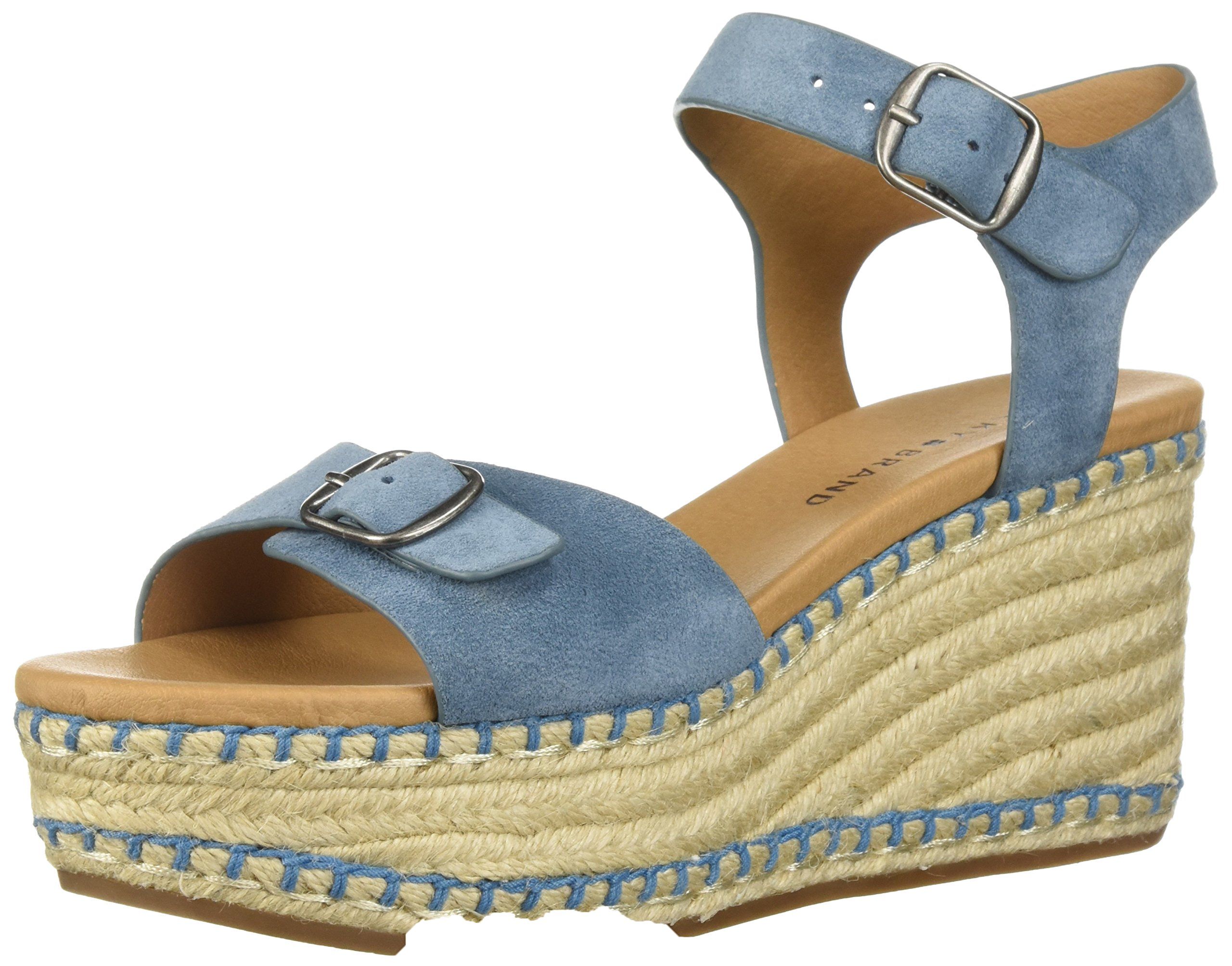 Lucky Brand Women's NAVEAH3 Espadrille Wedge Sandal, Faded Denim, 8 M US