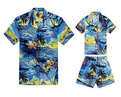 5999b6c1d Matching Father Son Custom Embroidery Hawaiian Luau Outfit Men Shirt Boy  Shirt Shorts PW Blue Sunset