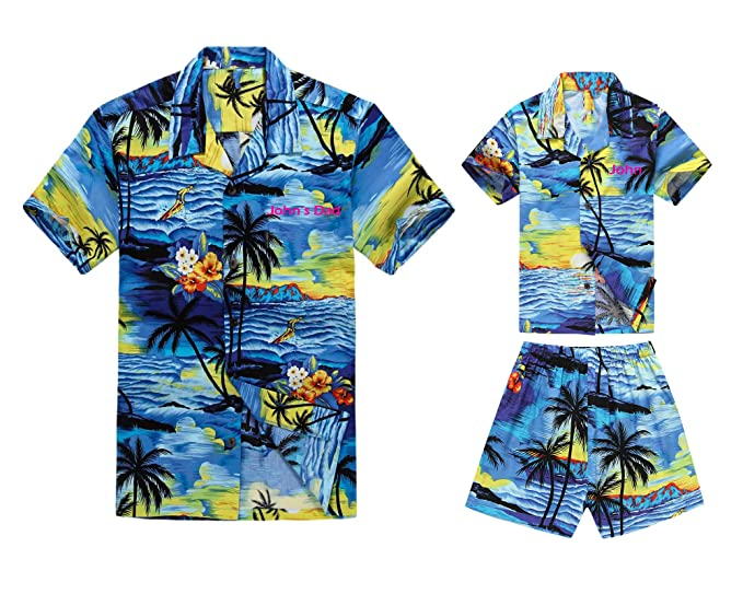 Matching Father Son Hawaiian Luau Outfit Men Boy Shirts Shorts Blue