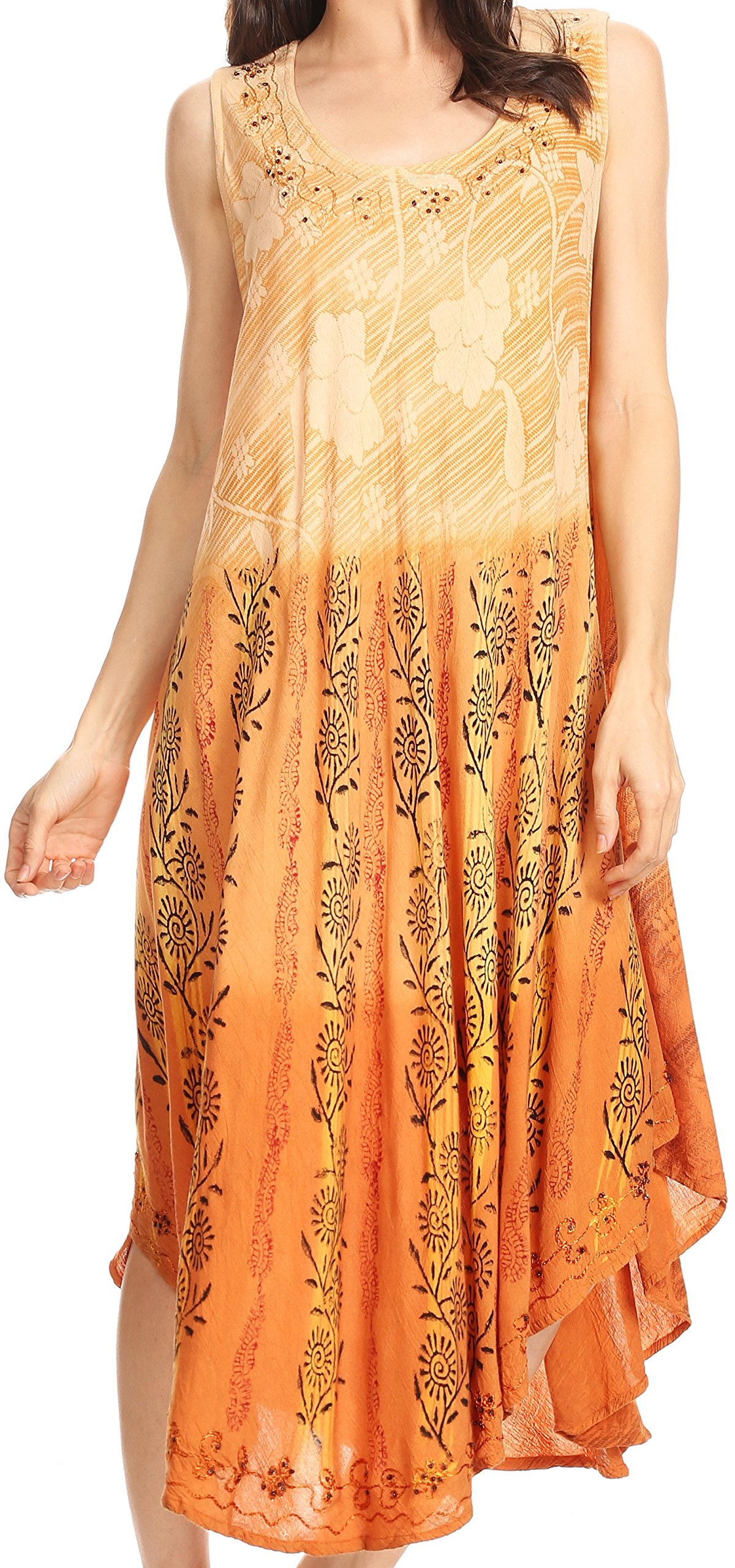 Sakkas 86458 - Alicia Ombre Vine Print Batik Dress/Cover up with Sequins and Embroidery - Light Brown - OS