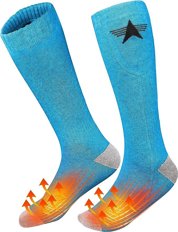 Chaussettes chauffantes en coton Gris Chaussettes chauffantes pour femmes et hommes 3,7 V /électriques rechargeables /à piles batterie non incluse