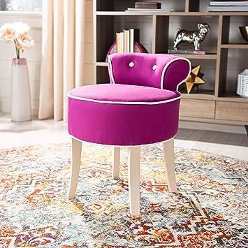 Admirable Safavieh Mercer Collection Georgia Vanity Stool Fuchsia Machost Co Dining Chair Design Ideas Machostcouk