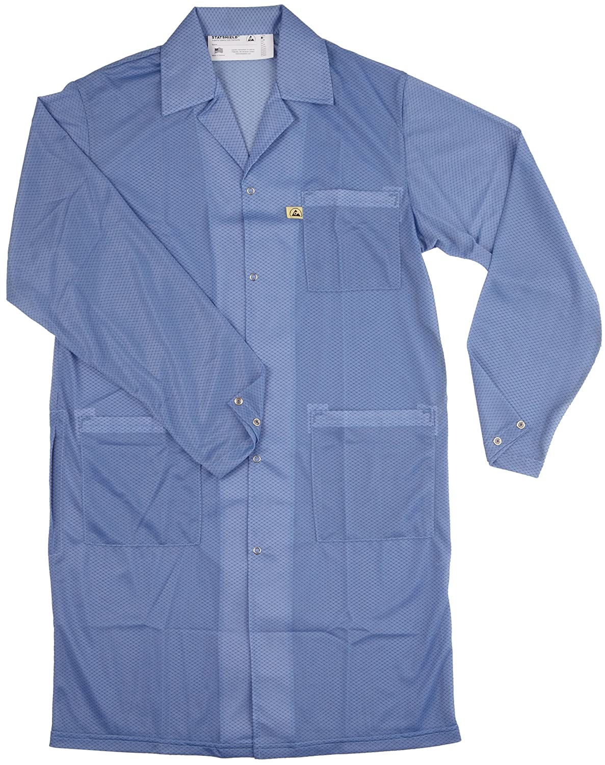 Blue 41-3//4 Length DESCO 73607 Polyester Smock Statshield Labcoat with Snaps 4X-Large