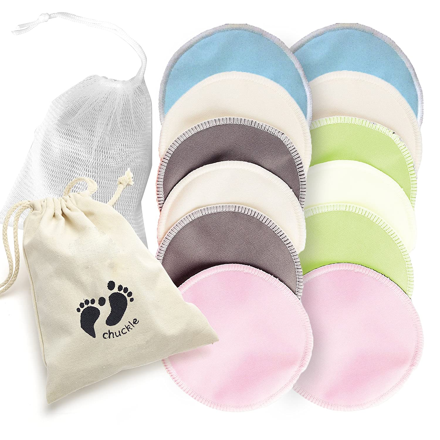 12 pack Premium Quality, Organic Bamboo Nursing Washable Breast Pads – includes Free Laundry Bag Soft ,Protective & Highly Absorbent for Breastfeeding Mothers Chuckle