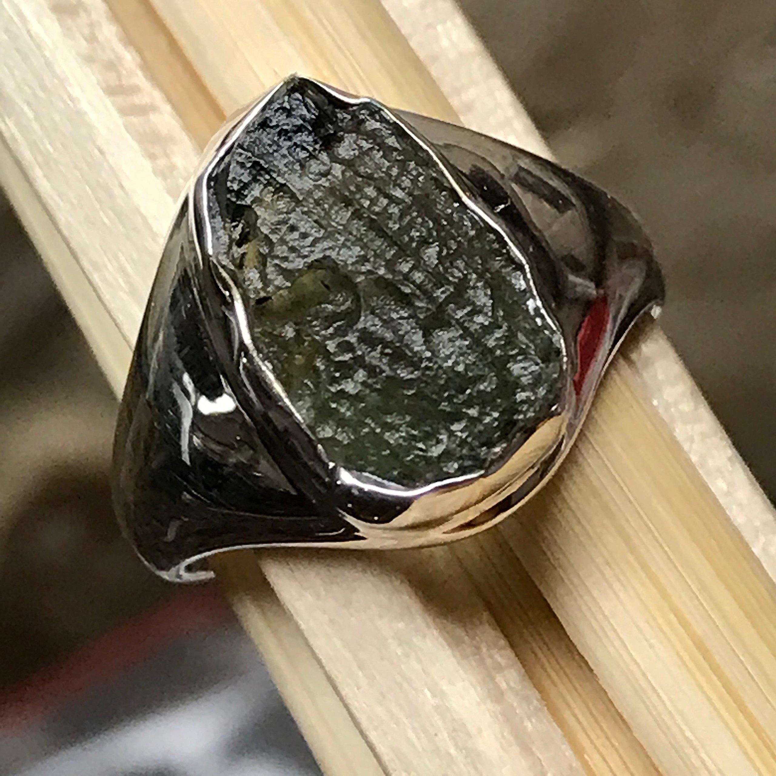 Natural Green Czech Republic Moldavite 925 Solid Sterling Silver Healing Stone Unisex Ring sz 6.5