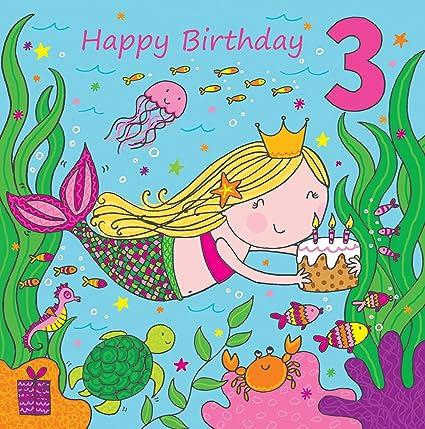 Twizler Tarjeta de cumpleaños para niña con diseño de sirena ...