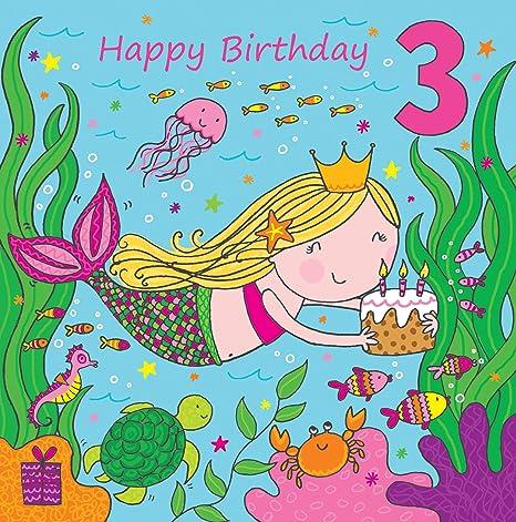 Twizler 3rd Di Compleanno Per Ragazza Con Cute Mermaid Glitter