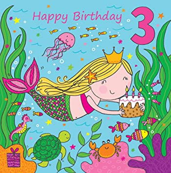 Twizler 3rd Birthday Card For Girl With Cute Mermaid Glitter