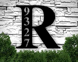 Address Plaque House Numbers, Address Sign for House, Address Plaque, Personalized Metal Signs for Home, Last Name Letter Sign, Metal Sign