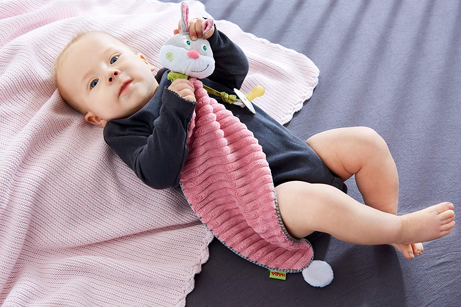 HABA Cuddly Easter Bunny Hops Snuggly Lovey Baby Blankie