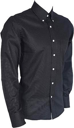 Camisa de Manga Larga para Hombre, diseño Retro de Lunares Negros Negro Blanco y Negro XXL 112/117 cm: Amazon.es: Ropa y accesorios