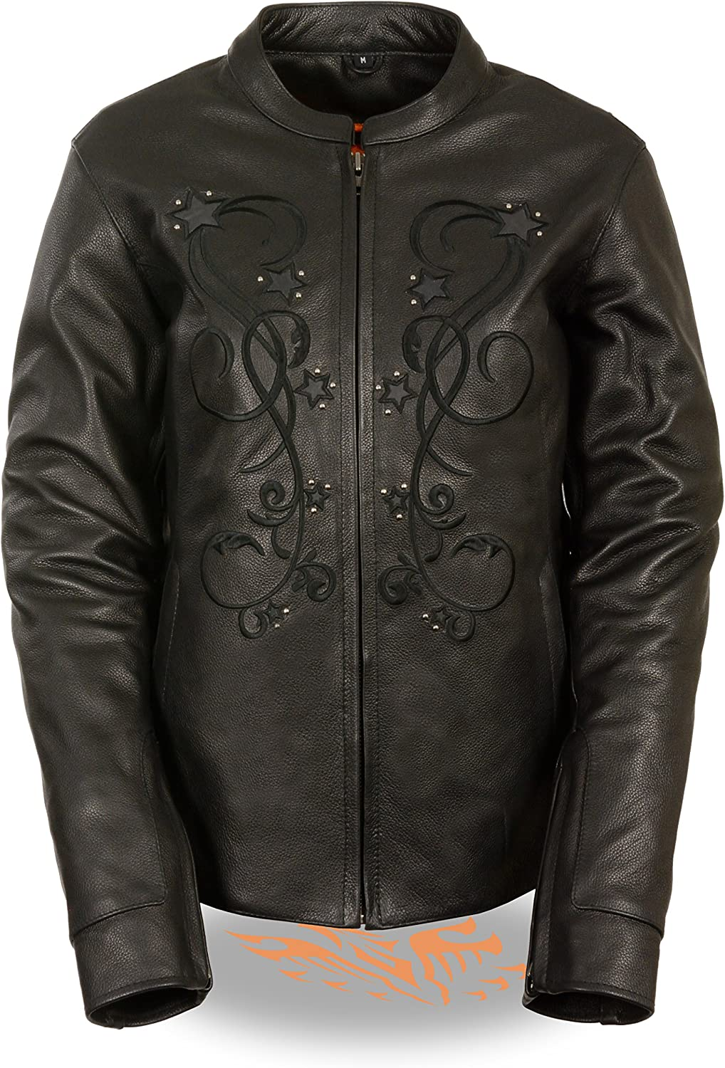 Milwaukee Leather Women's Reflective Star Jacket with Rivet Detailing