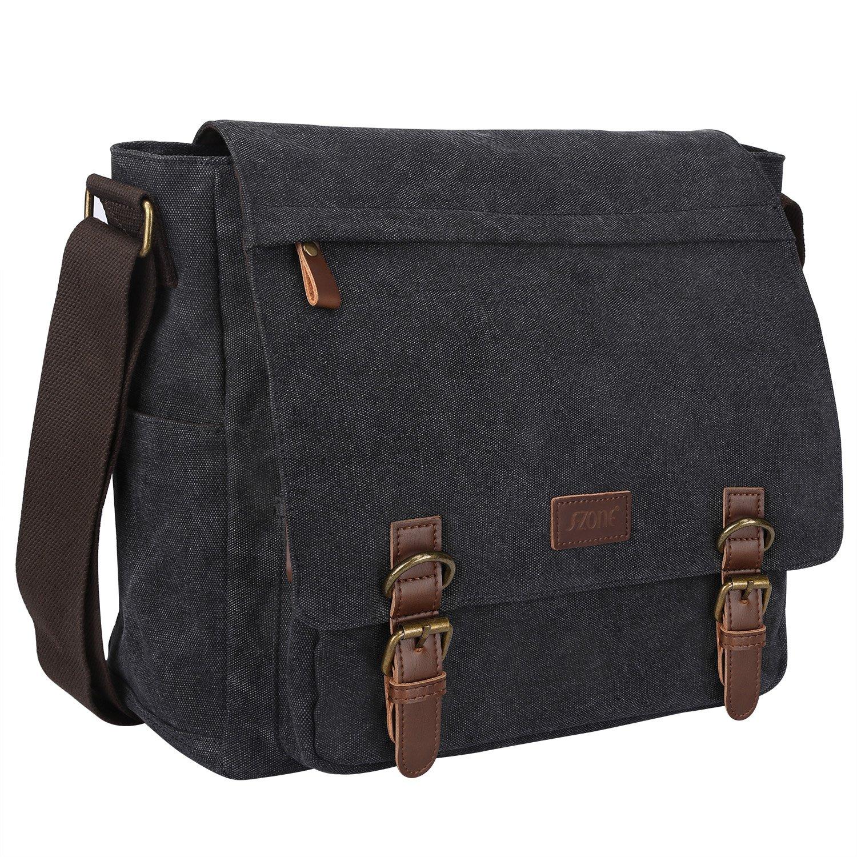 S-ZONE Vintage Canvas Messenger Bag School Shoulder Bag for 13.3-15inch Laptop Business Briefcase (Dark Gray) by S-ZONE