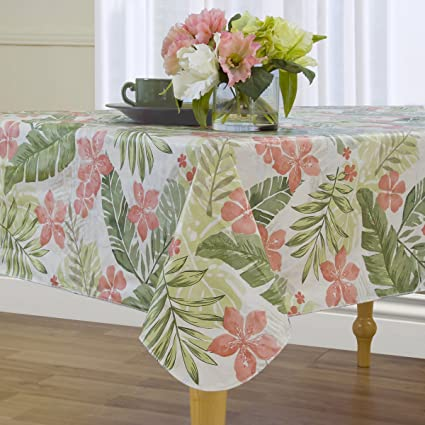 Superieur Amazon.com: Elrene Tropical Island Print Flannel Backed Vinyl Tablecloth,  70 Inch Round, Green (Set Of 6): Home U0026 Kitchen