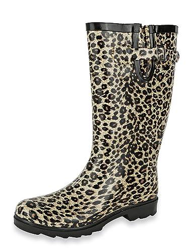 cc66833076ec Amazon.com | AccessoWear Women's Leopard Rain Boots - Size 5 B (M ...