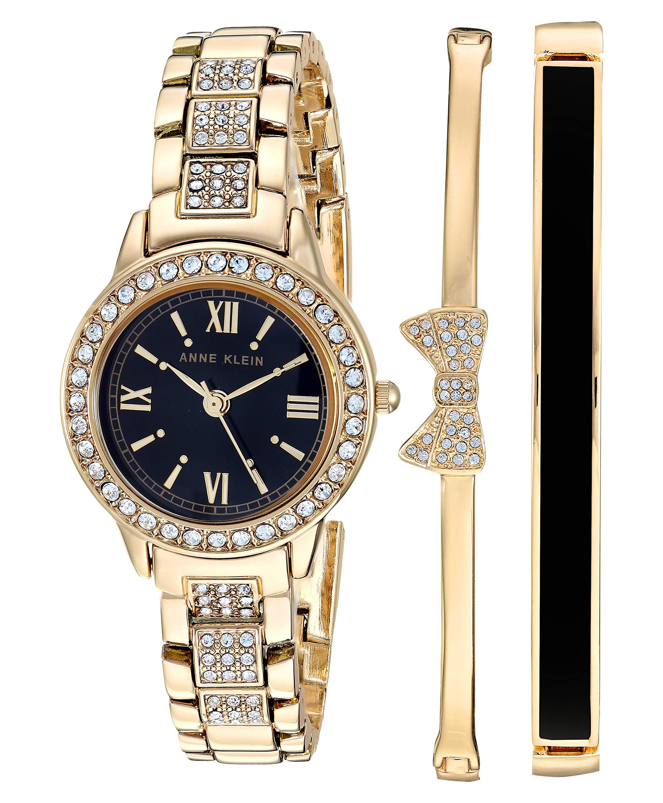 Anne Klein Women's Swarovski Crystal Accented Bracelet Watch and Bangle Set AK/3334