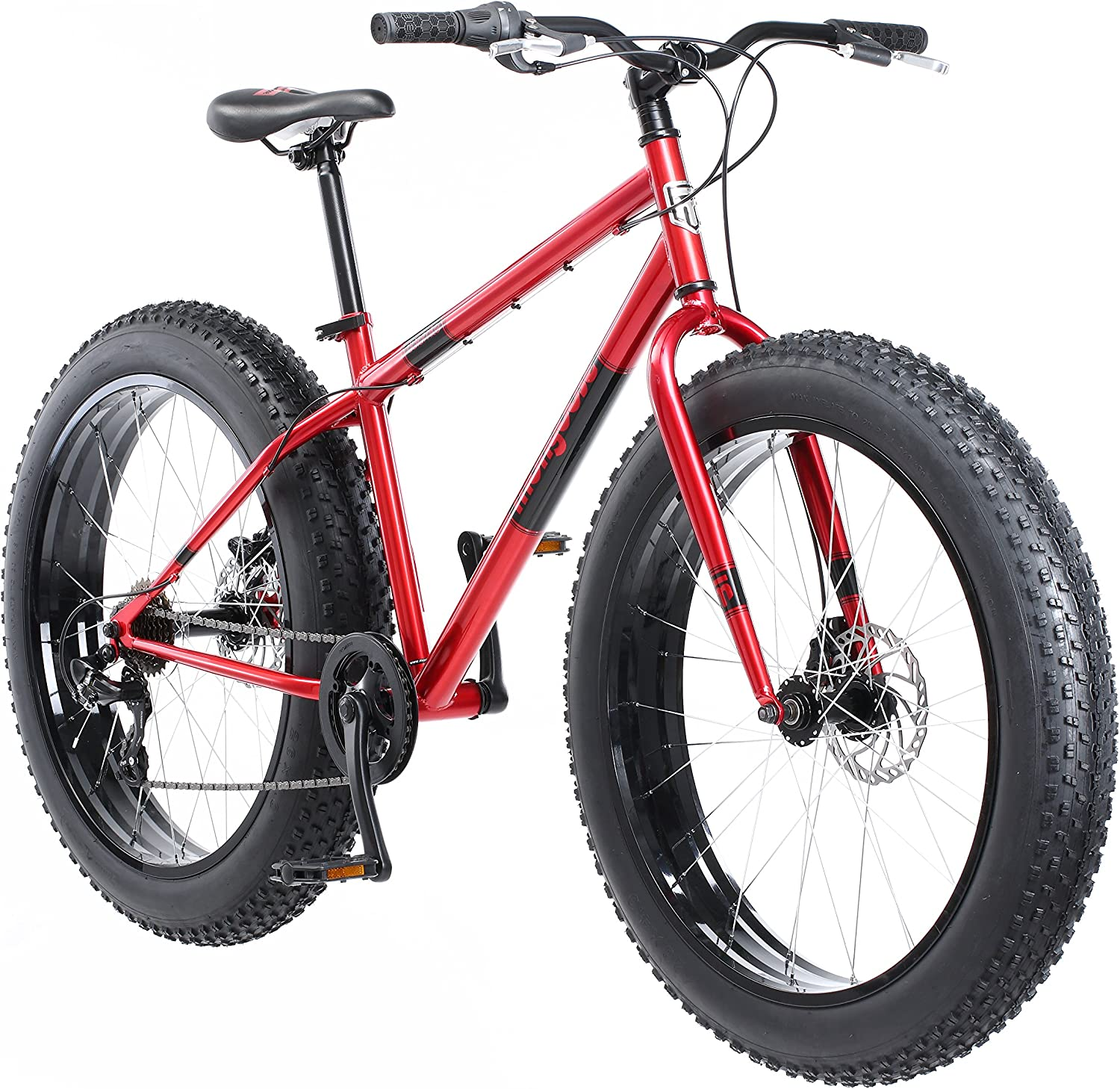 Mongoose Dolomite Fat Tire Mountain Bike, Featuring 17-Inch Medium High-Tensile Steel Frame, 7-Speed Shimano Drivetrain, Mechanical Disc Brakes, and 26-Inch Wheels, Light Blue, Navy Blue, and Red