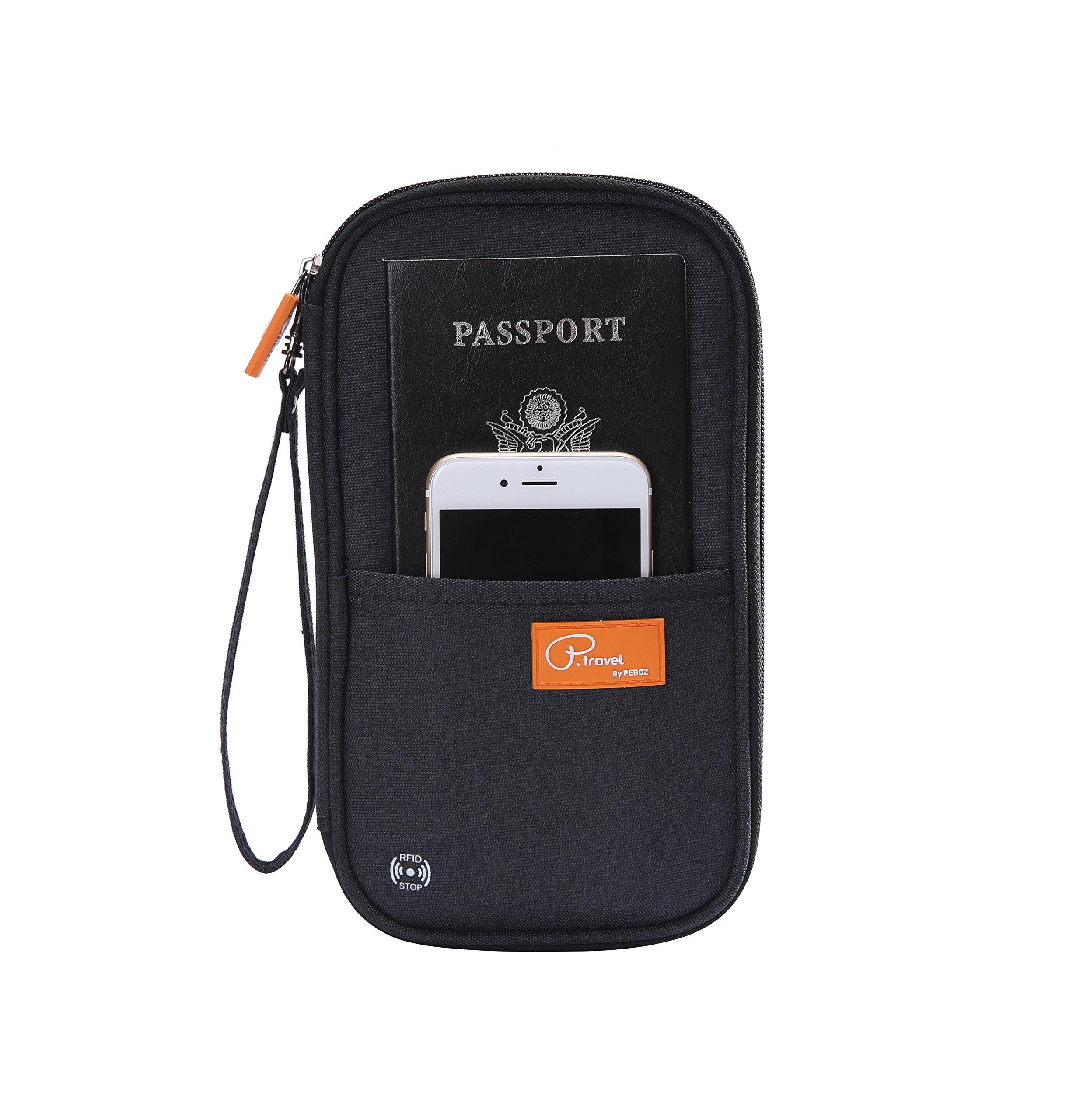 RFID Blocking Travel Passport Wallet & Family Passport Holder, Waterproof Multiple Document Organizer (Black)