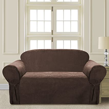 Comfy Bedding Microsuede Sofa Furniture Slipcover With Elastic Straps Under  Seat Cushion (Brown, Loveseat
