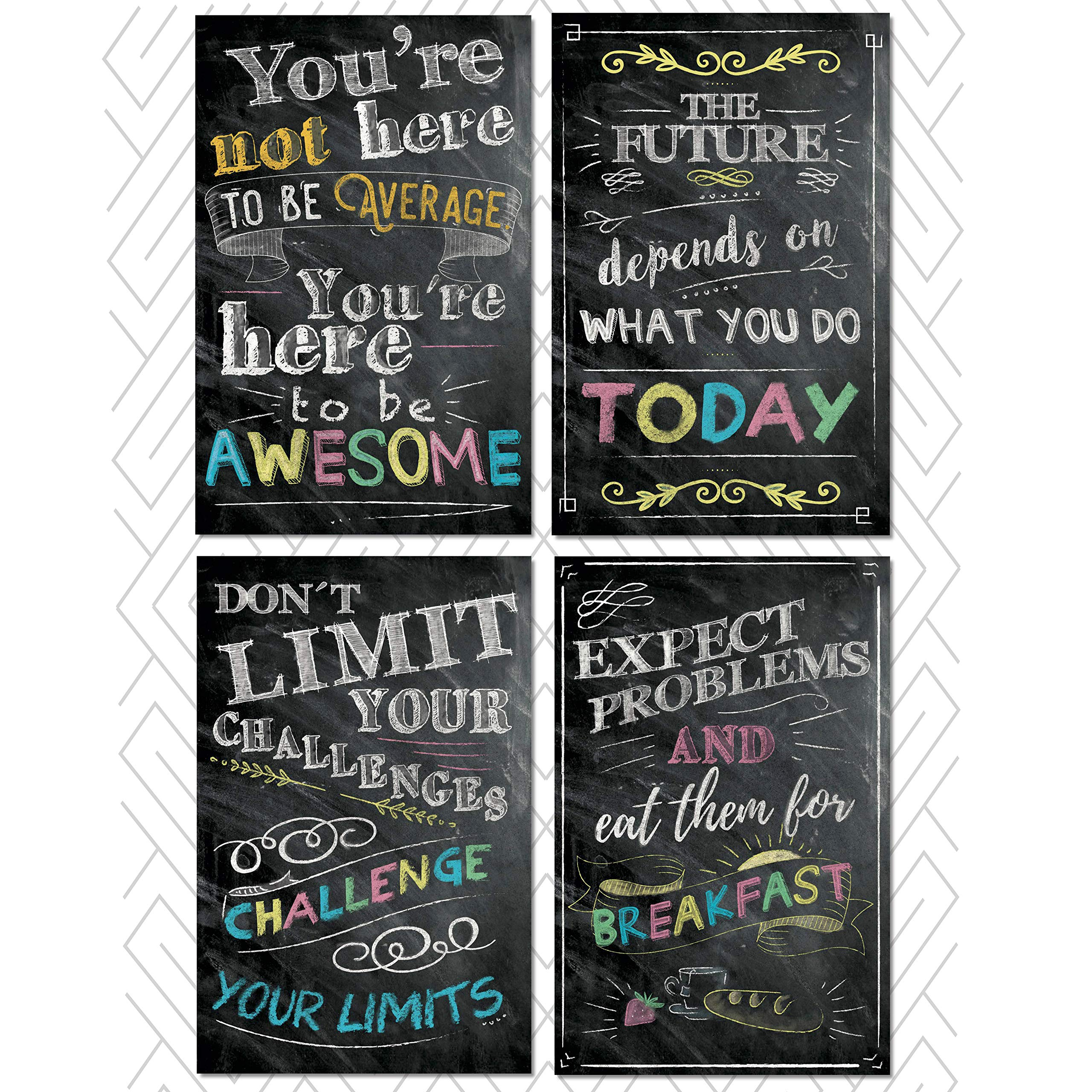 Motivational and Inspirational Posters and Classroom Decorations Wall Art Quotes. Multicolor, Perfect for Office or Kids Room. Chalkboard Positive Quotes, Great Back to School Gifts. Set of 4 11x17""