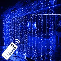 MAGGIFT 304 LED Curtain String Lights, 9.8 x 9.8 ft, 8 Modes Plug in Fairy String Light with Remote Control, Christmas, Backdrop for Indoor Outdoor Bedroom Window Wedding Party Decoration, Blue