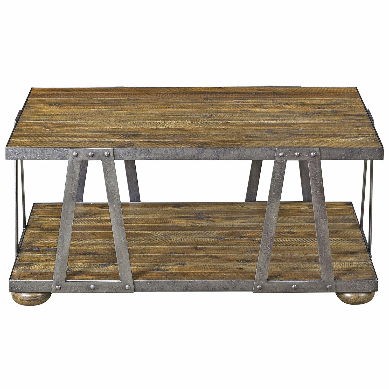 Amazon com kathy kuo home ida rustic lodge acacia wood metal coffee table kitchen dining
