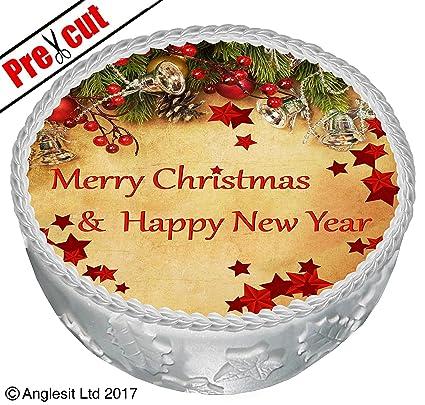 Postres Para Una Feliz Navidad.Pre Cut Feliz Navidad Y Feliz Ano Nuevo C Iii Para Tarta 7