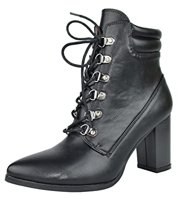 182c666c4014 Chase   Chloe Women s Lace-Up Padded Collar Chunky Stacked Heel Ankle Bootie  (5.5