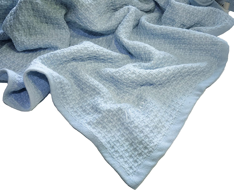 Zoog - Manta de algodón orgánico de calidad premium con certificado GOTS no químico, no tóxico, 100% algodón orgánico, tejido suave, 78,7 x 101,6 cm, color azul y rosa y verde (Azul)