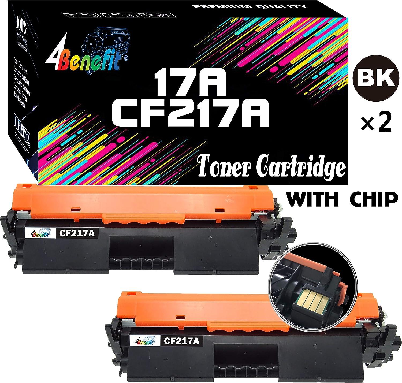 4Benefit Compatible Toner Cartridge Replacement for HP 17A CF217A 217A to Used for HP Laserjet Pro M102w M102a M130 M102 M130fw M130nw M130fn M130a Printer (Black, 2-Pack, with Chip)