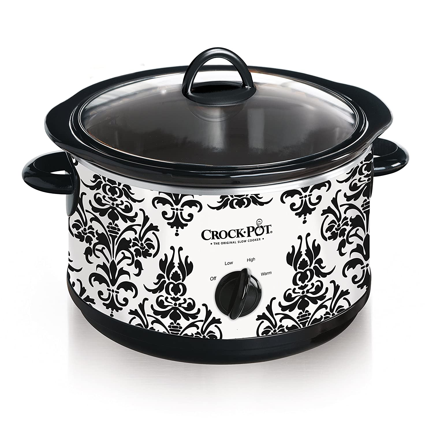 Crock-Pot 4.5-Quart Manual Slow Cooker, Damask Pattern